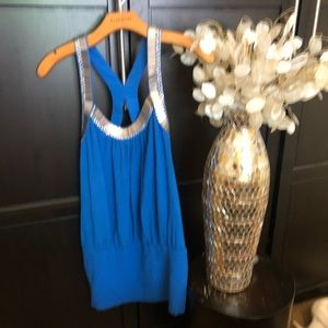 NWT Bebe Blue Tunic with Silver Accents